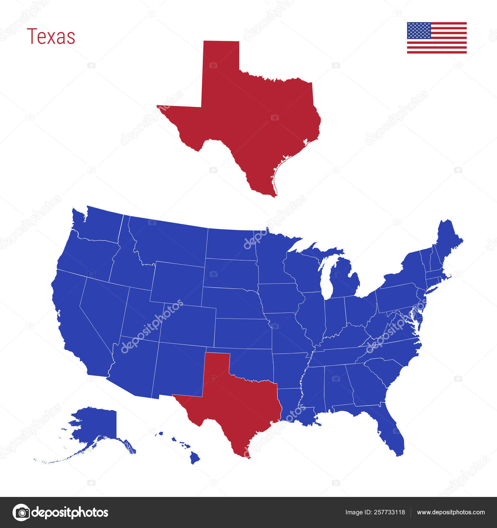The State of Texas is Highlighted in Red. Vector Map of the ...