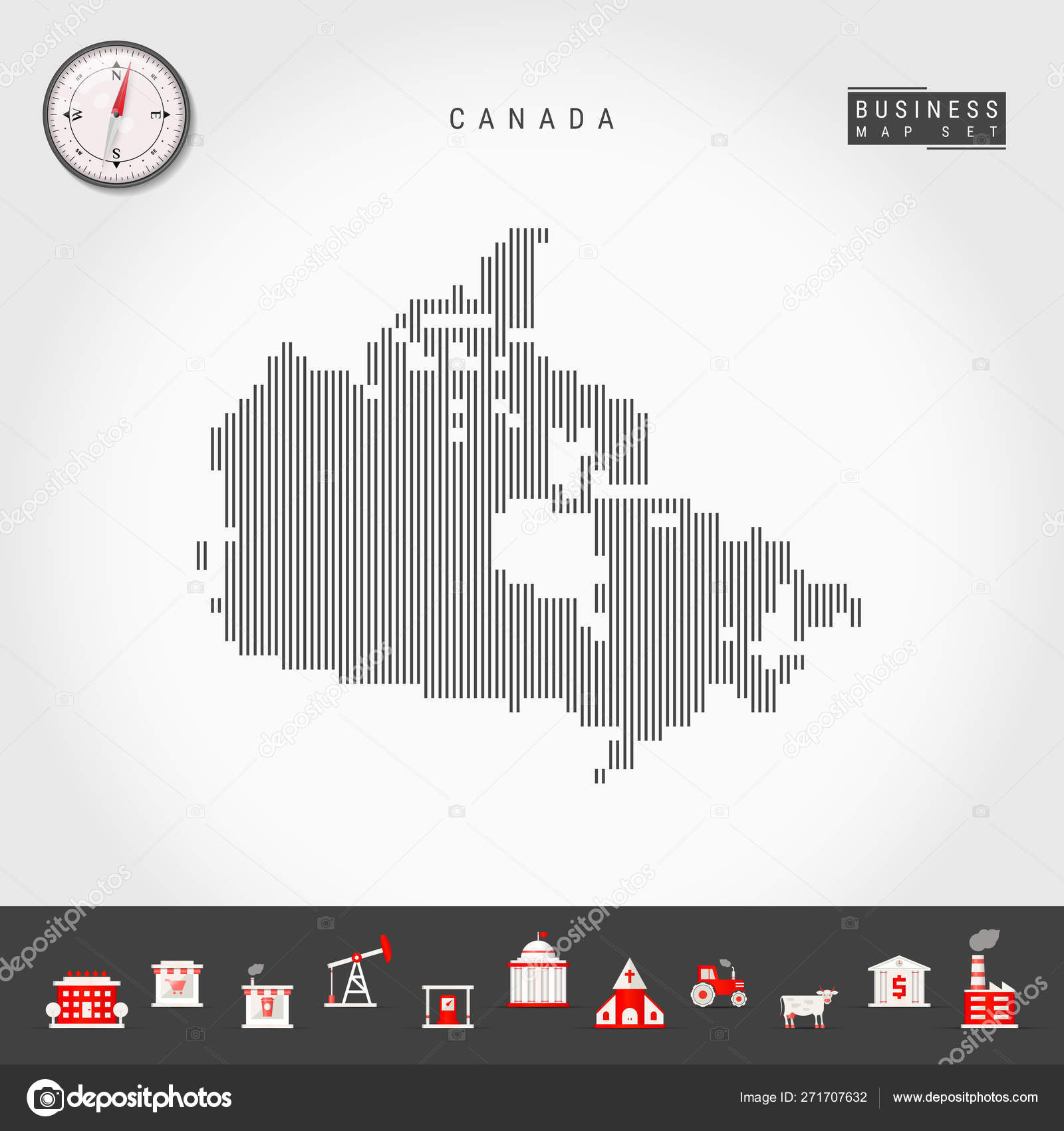 Map Of Canada Silhouette.Vector Vertical Lines Map Of Canada Striped Silhouette Of Canada