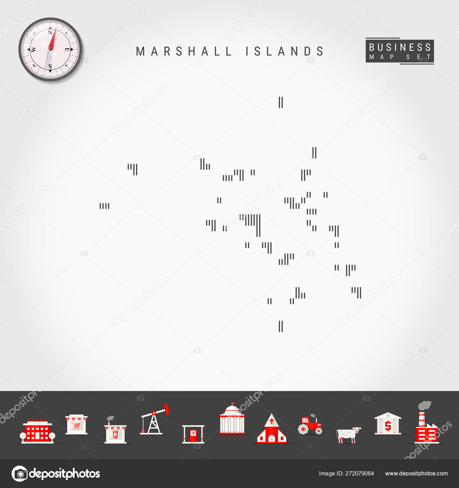 Vector Vertical Lines Map of Marshall Islands. Striped ...