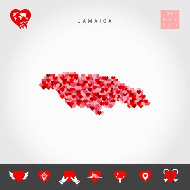 I Love Jamaica. Red Hearts Pattern Vector Map of Jamaica. Love Icon Set