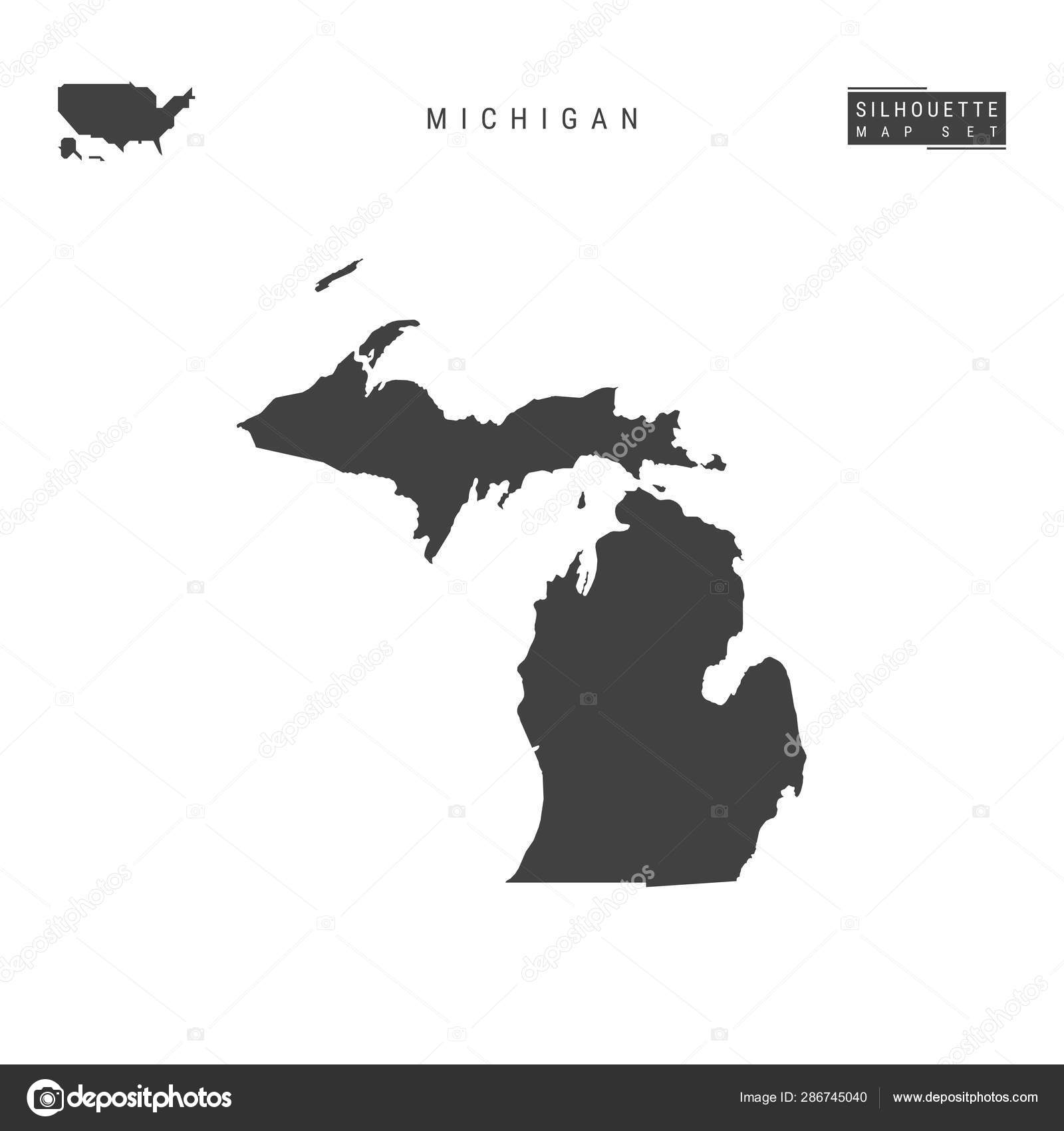 Michigan US State Vector Map Isolated on White Background ...