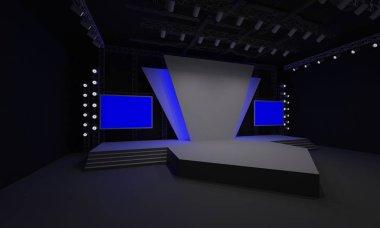 3D stage event led tv light night staging interior render illustration