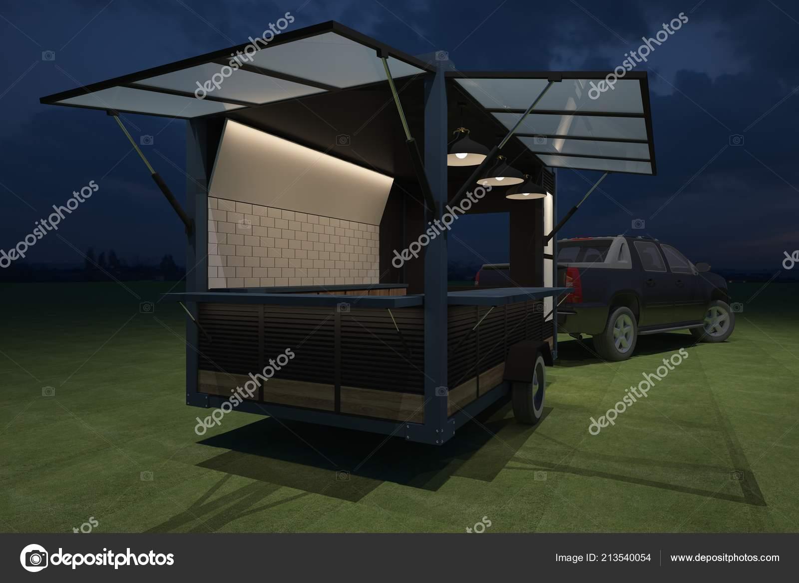 Food Truck Kiosk Cafe Design Rendering Illustration — Stock