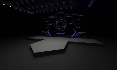 3D stage event led tv light night staging interior render illustration