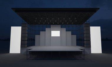 3D stage concert event led tv light night outdoor staging render illustration