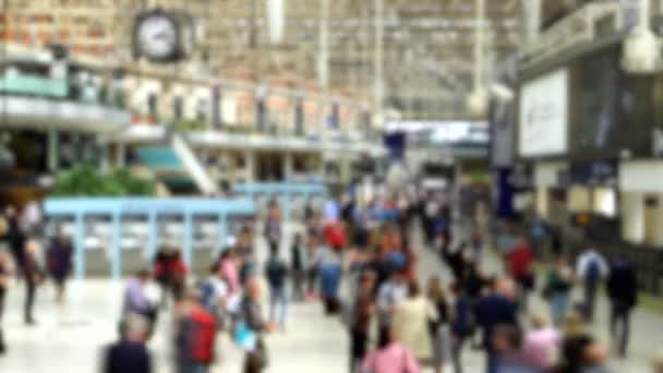 Timelapse of Anonymous Commuters at Busy Train Station