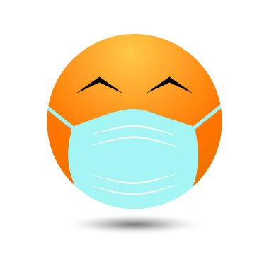 Emoji with a mouth mask - a yellow face with eyes narrowed from a smile in a white surgical mask icon