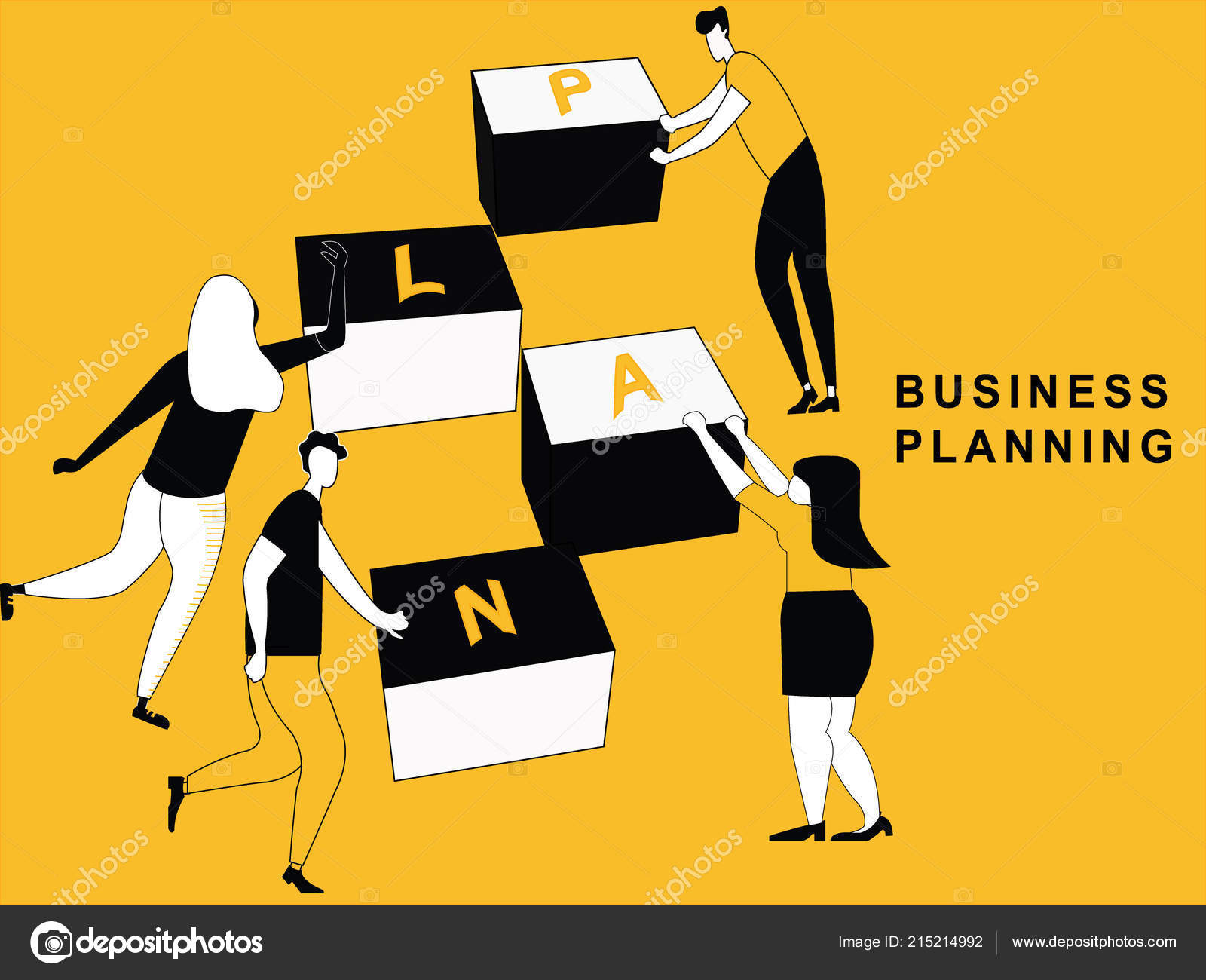 people doing business plan different character blocks stock vector