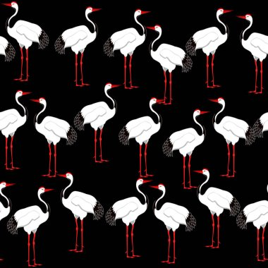 seamless vector pattern with crane birds on black background