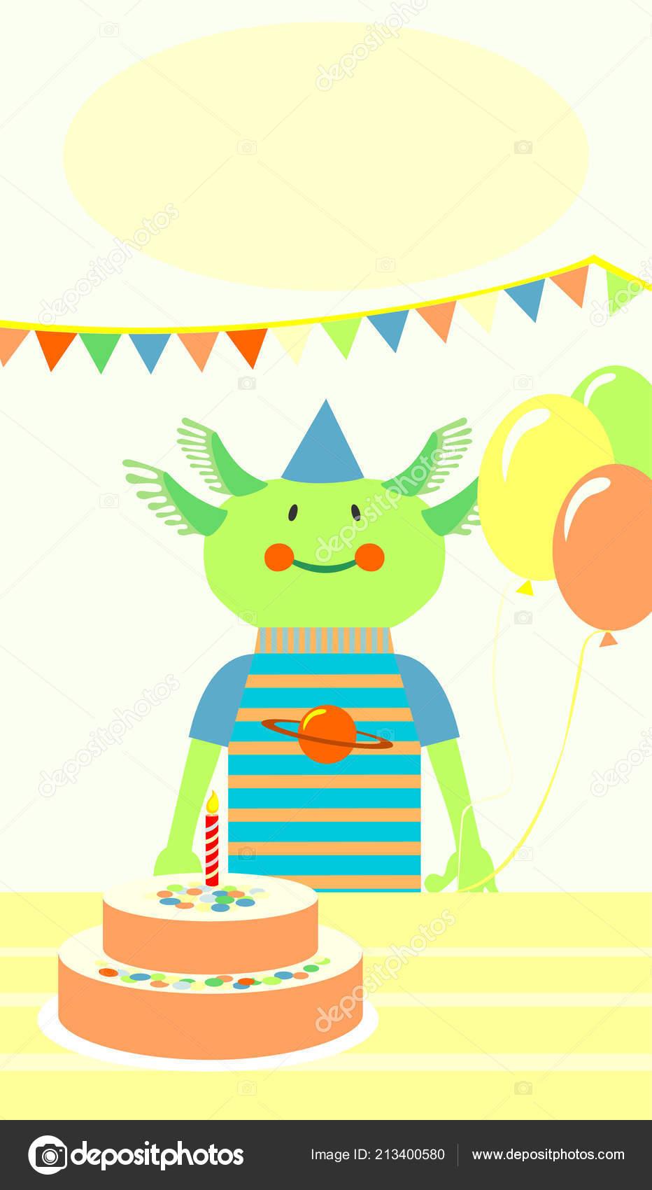Remarkable Smiling Green Alien Birthday Cake Stock Vector C Junejuly 213400580 Funny Birthday Cards Online Elaedamsfinfo