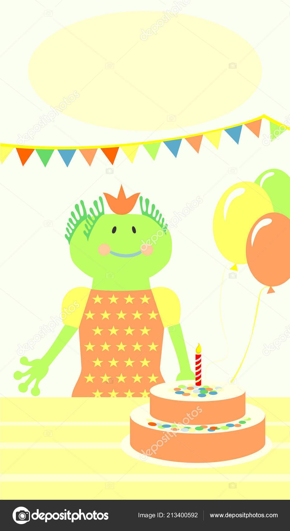 Outstanding Smiling Green Alien Birthday Cake Stock Vector C Junejuly 213400592 Funny Birthday Cards Online Elaedamsfinfo