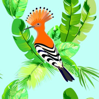 Hoopoe bird with green tropical leaves, seamless vector pattern