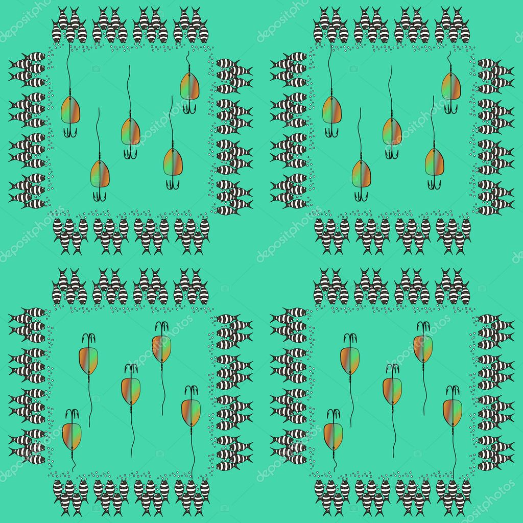Vector pattern of fishing bait with fishes in the sea. Multicolor illustration whit flock of fish in a square composition. Can be used in design interior, textiles, posters, logo for fishing club.