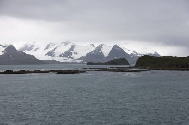 South Georgia Peyzah with sea, glacier and snow on a cloudy day