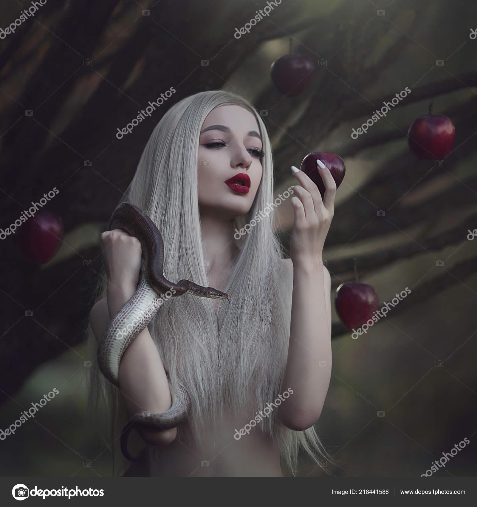 Eve Nude eve serpent tempter apple sin young beautiful nude girl very