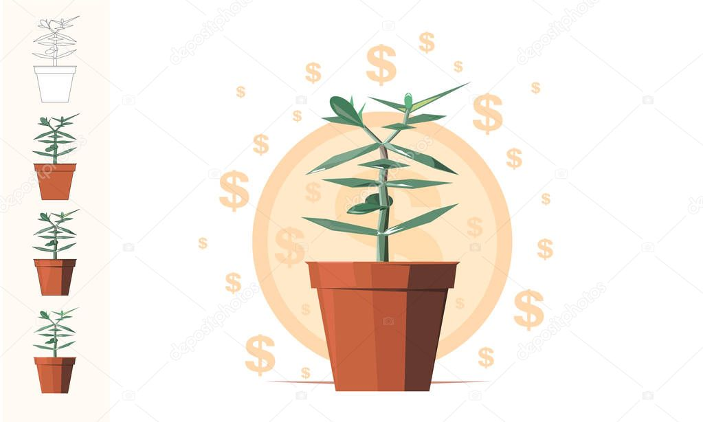 Money tree - flat art. Concept for business: financial, consulting, it or botanics