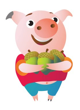 The pig is happy because she has many acorns.
