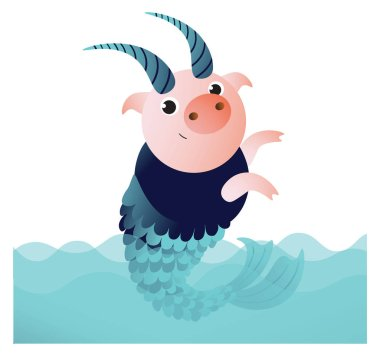 Capricorn pig with horns and fish tail