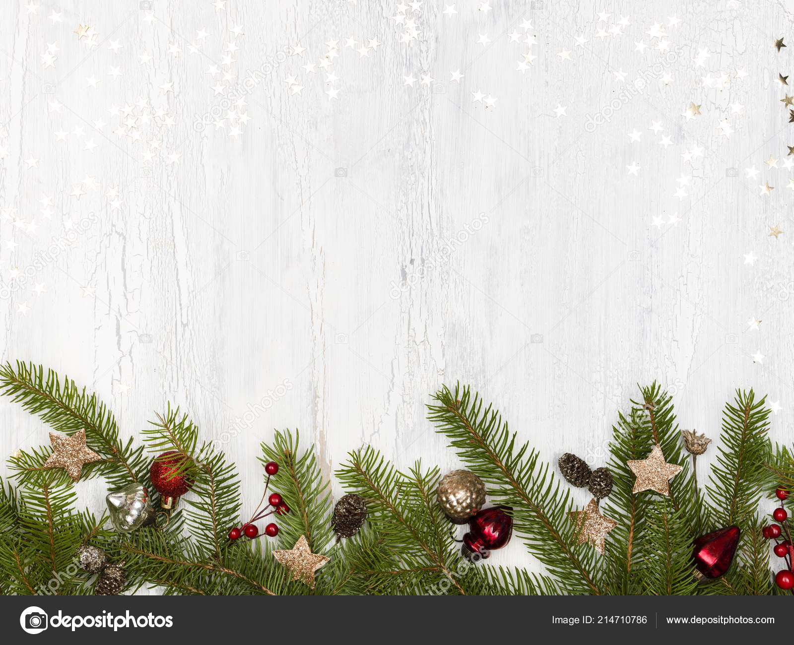 Green Christmas Tree Branches Baubles Pine Cones White Wooden Background Stock Photo Image By C Epiximages 214710786