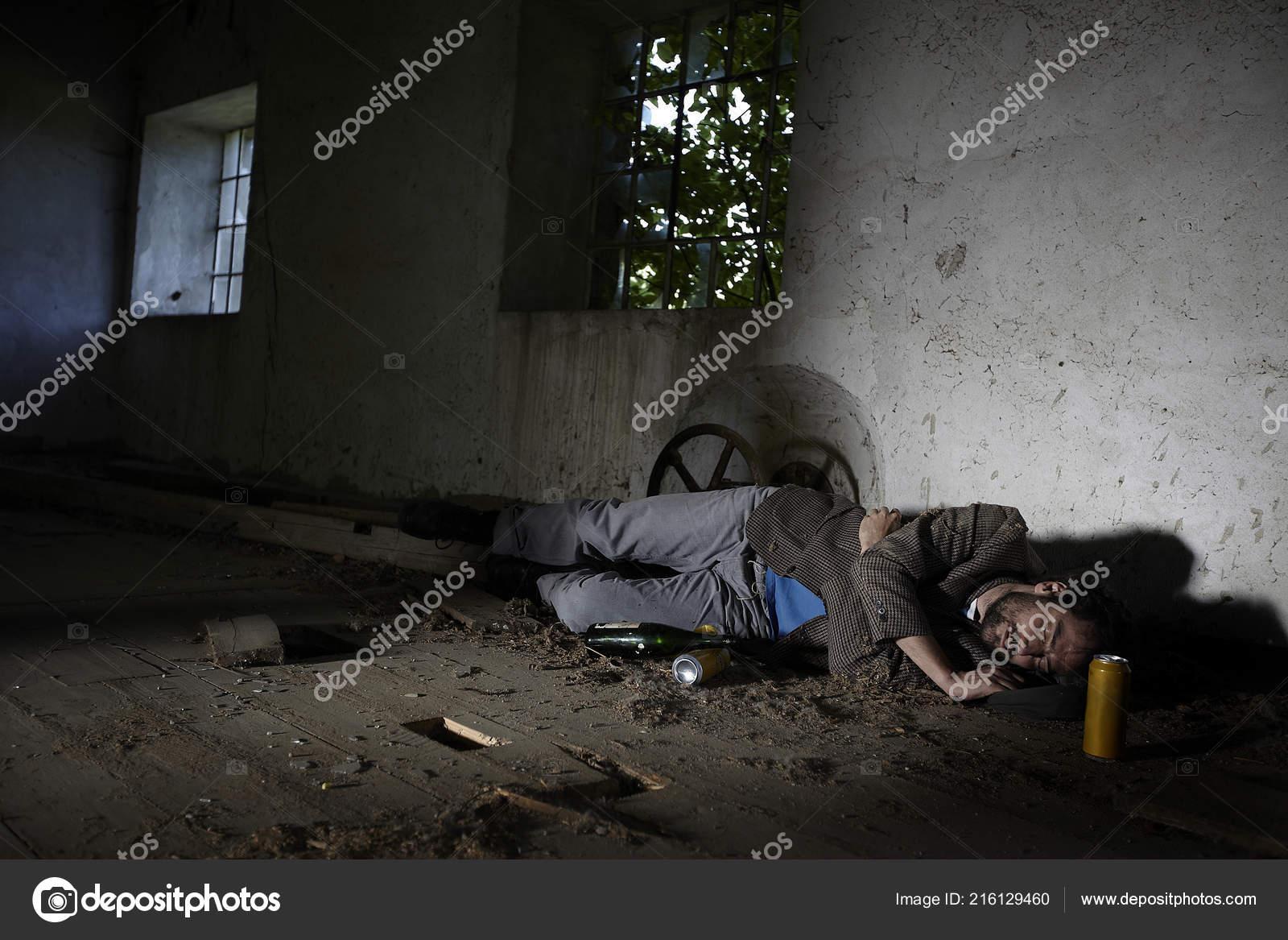 Drunk Homeless Man Sleeping Floor Beer Cans Abandoned Building Stock Photo C Epiximages 216129460