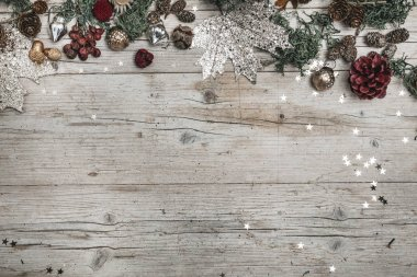 Festive Christmas Composition on wooden background