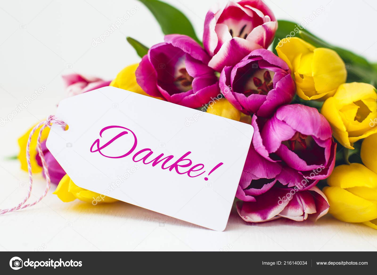 German Thank You Card Beautiful Pink Yellow Tulips Close Stock