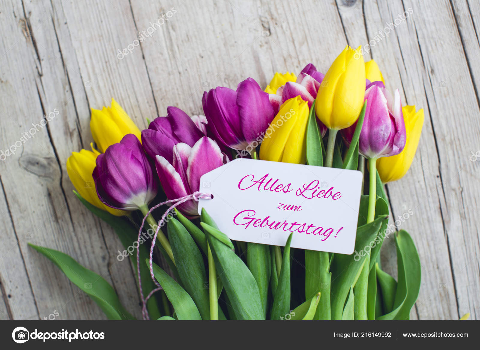 Pink Yellow Tulips Paper Tag Text Happy Birthday German