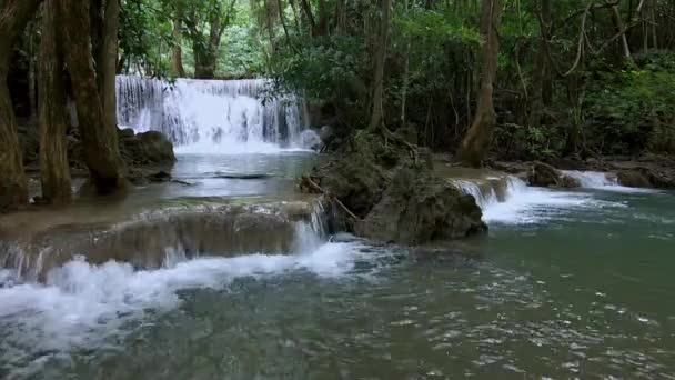 Video clip Huai Mae Khamin Waterfall at Kanchanaburi Province in Thailand