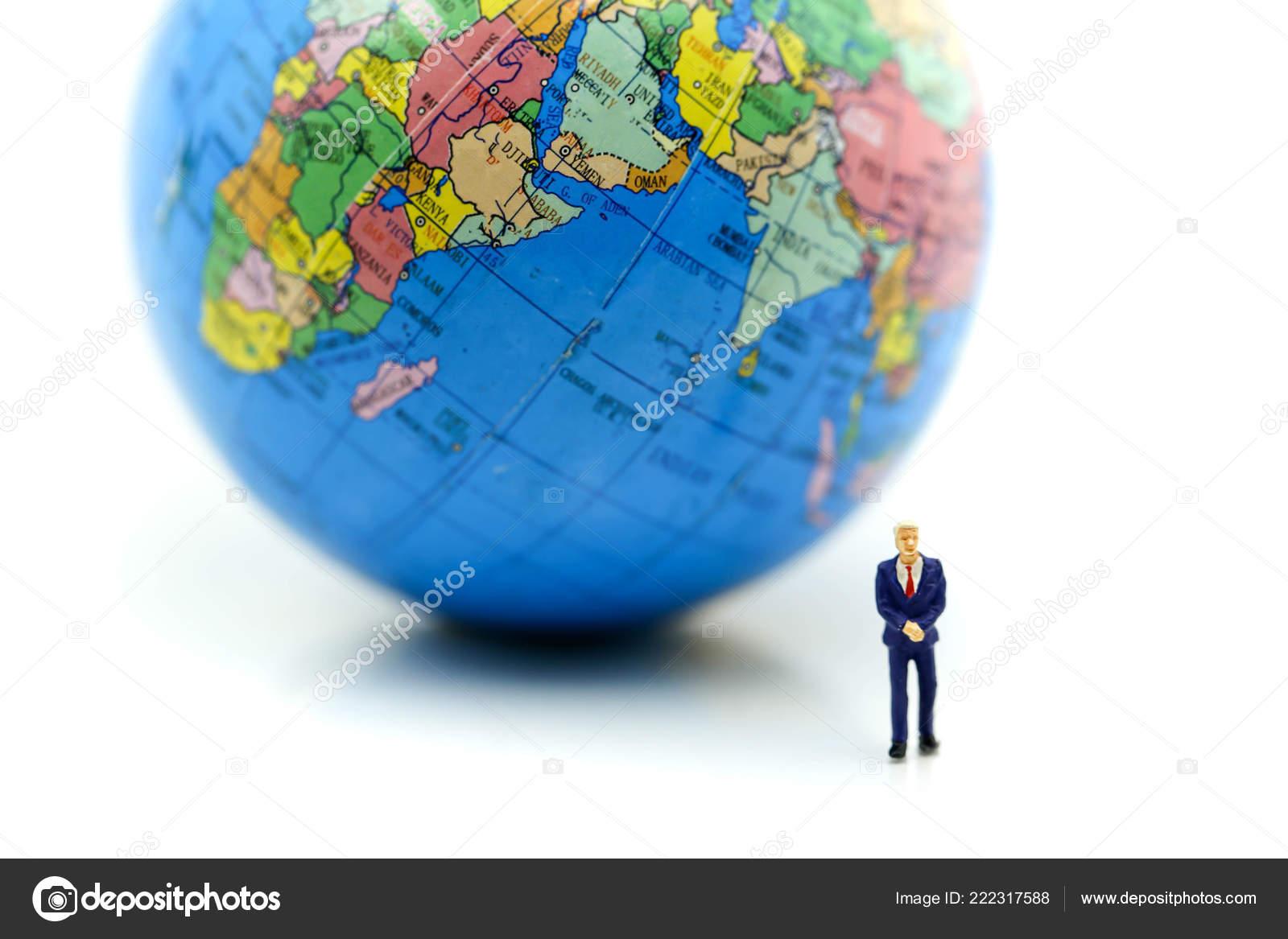 Mini World Map.Miniature People Businessman Mini World Using Concept International