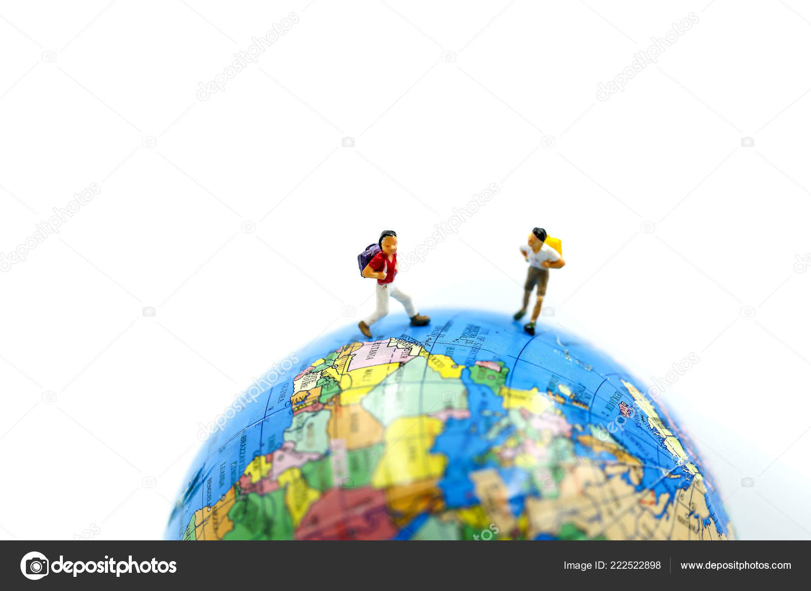 Mini World Map.Miniature People Student Children Standing Mini World Using Concept