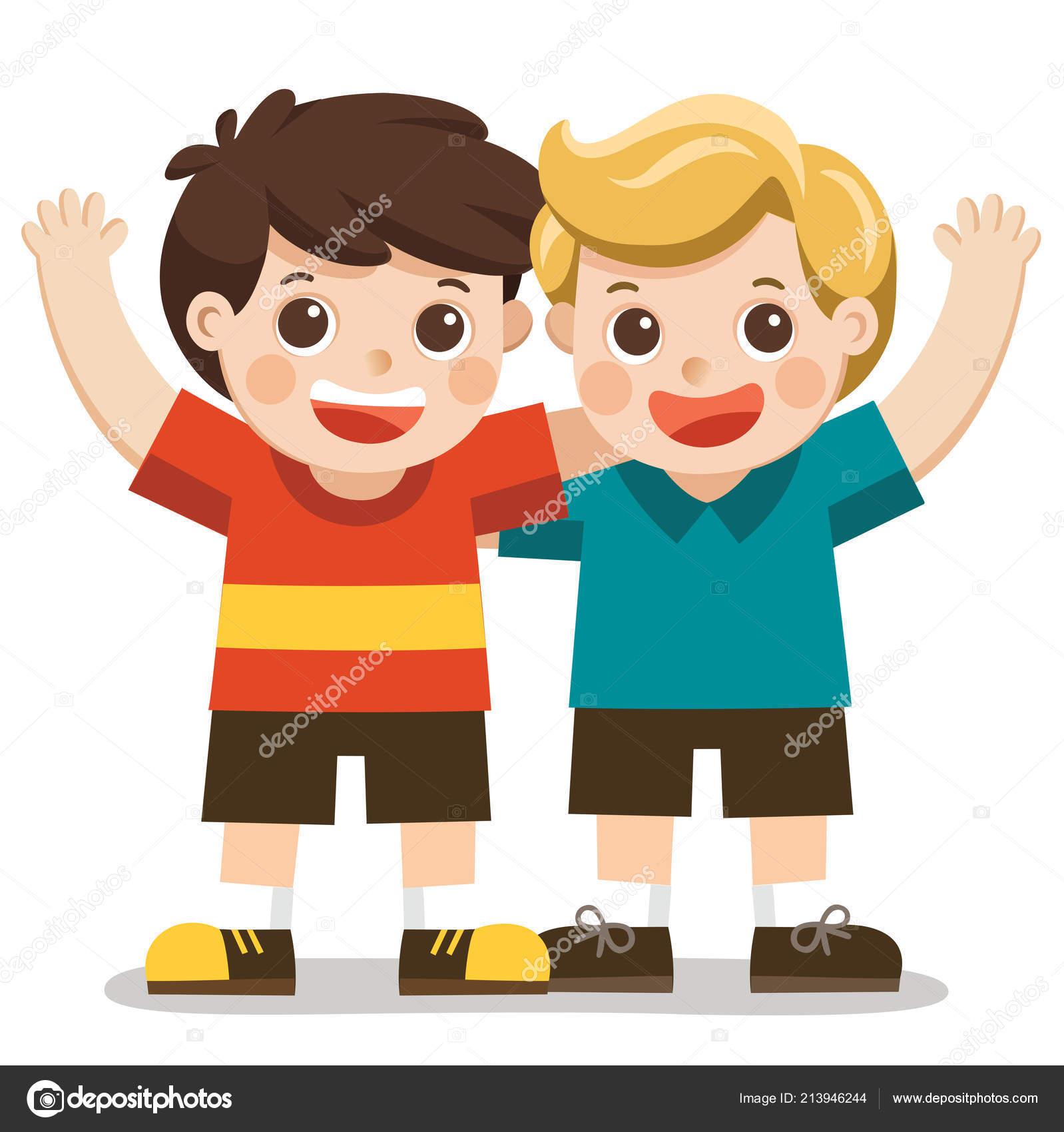 Two boys smile hugging waving hands happy kids best friends stock vector