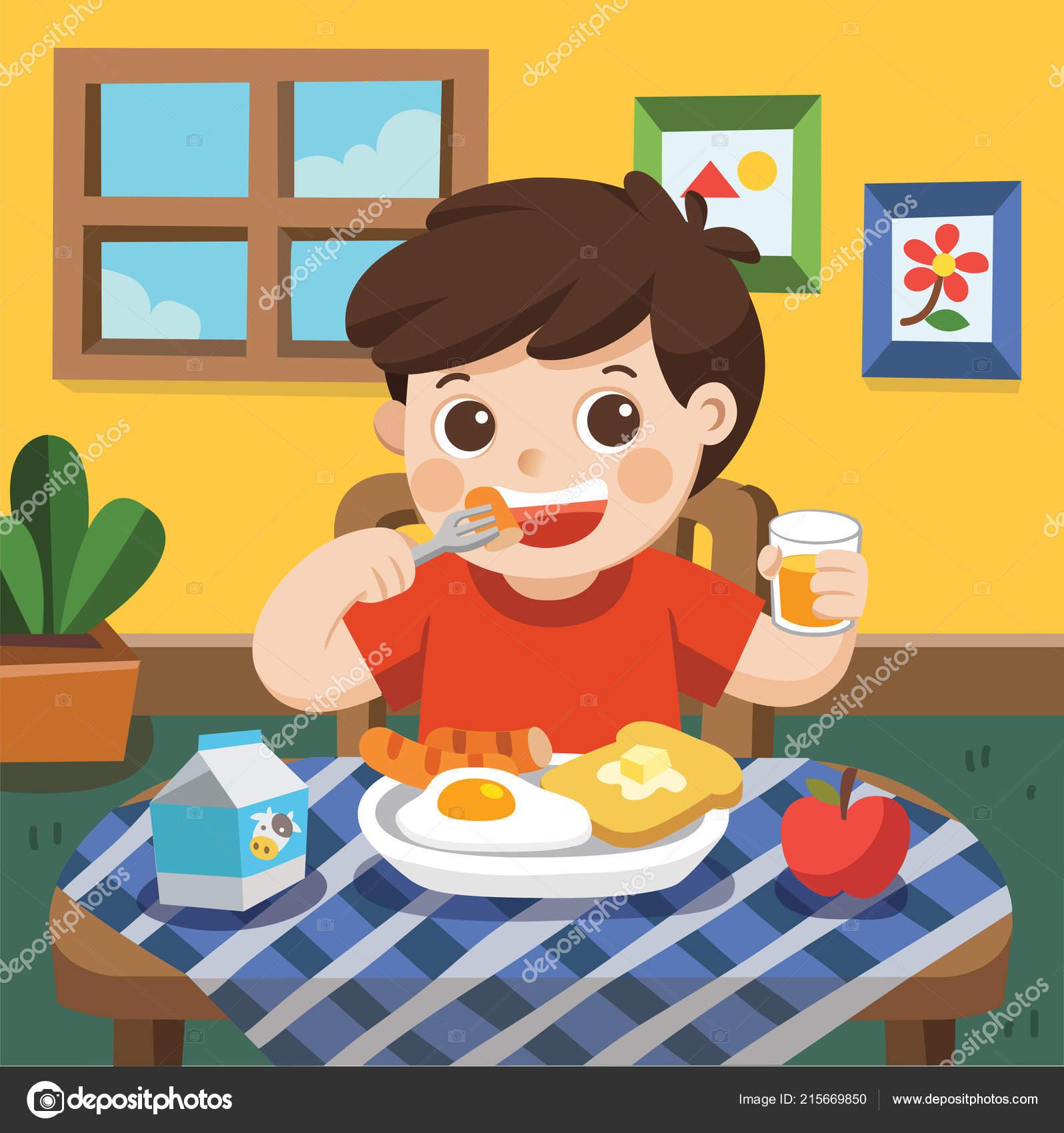 Little Boy Happy Eat Breakfast Morning — Stock Vector ...