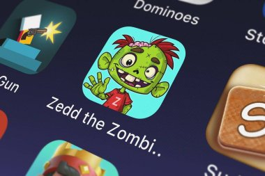 London, United Kingdom - September 29, 2018: Close-up shot of the Zedd the Zombie application icon from Crazy Labs on an iPhone.