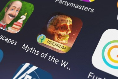 London, United Kingdom - September 29, 2018: Close-up shot of the Myths of the World: The Veil mobile app from Big Fish Premium, LLC.