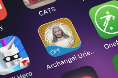 London, United Kingdom - September 30, 2018: Close-up shot of the Archangel Uriel Guidance - Virtue, Valentine application icon from Oceanhouse Media on an iPhone.