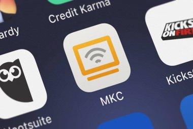 London, United Kingdom - September 30, 2018: Close-up shot of the MKC mobile app from Kodak Alaris Inc..