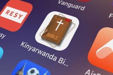 London, United Kingdom - September 30, 2018: Screenshot of the mobile app Kinyarwanda Bible. Rwanda Holy Bible Daily Version from Oleg Shukalovich.