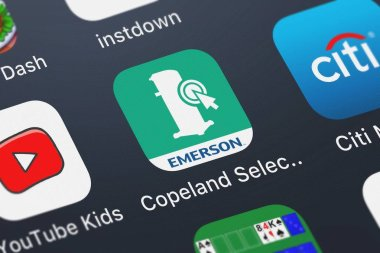 London, United Kingdom - October 01, 2018: Icon of the mobile app Copeland Select from Emerson Climate Technologies, Inc. on an iPhone.
