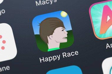 London, United Kingdom - September 30, 2018: Screenshot of Sam Hogan's mobile app Happy Race.