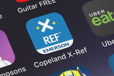 London, United Kingdom - October 01, 2018: Close-up of the Copeland X-Ref icon from Emerson Climate Technologies, Inc. on an iPhone.