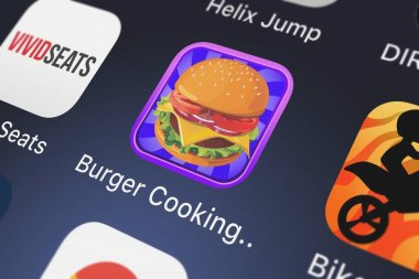 London, United Kingdom - September 30, 2018: Close-up of the Burger Cooking Restaurant Maker Jam - the mama king food shop in a jolly diner story dash game icon from Best Fun Games on an iPhone.