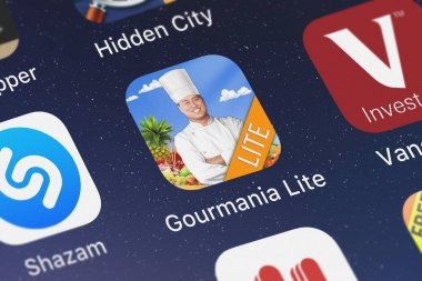 London, United Kingdom - September 30, 2018: Close-up shot of the Gourmania Lite application icon from Alawar Entertainment, Inc on an iPhone.