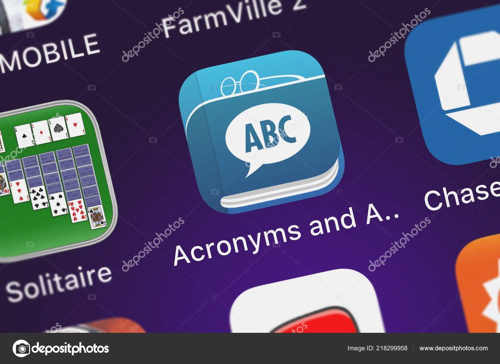 London United Kingdom October 2018 Icon Mobile App Acronyms