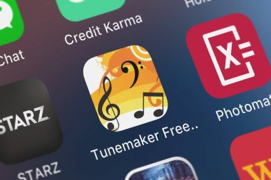 London, United Kingdom - October 02, 2018: Close-up shot of the Tunemaker Free Tryout application icon from Makayama.com on an iPhone.