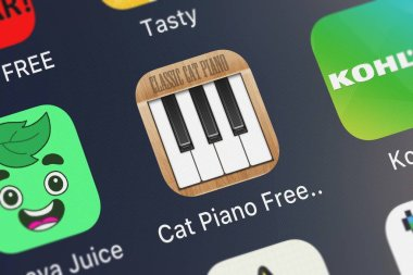 London, United Kingdom - October 01, 2018: Close-up shot of the Cat Piano Free HD mobile app from ObjectGraph LLC.