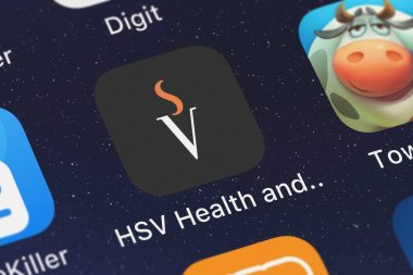 London, United Kingdom - October 02, 2018: The HSV Health and Fitness Tracker mobile app from Netpulse Inc. on an iPhone screen.