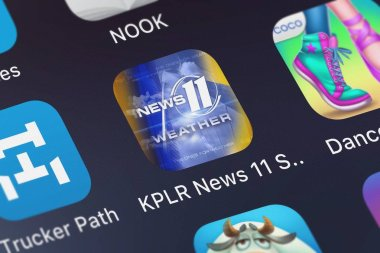 London, United Kingdom - October 01, 2018: Close-up shot of the KPLR News 11 St Louis Weather application icon from Tribune Broadcasting Company on an iPhone.