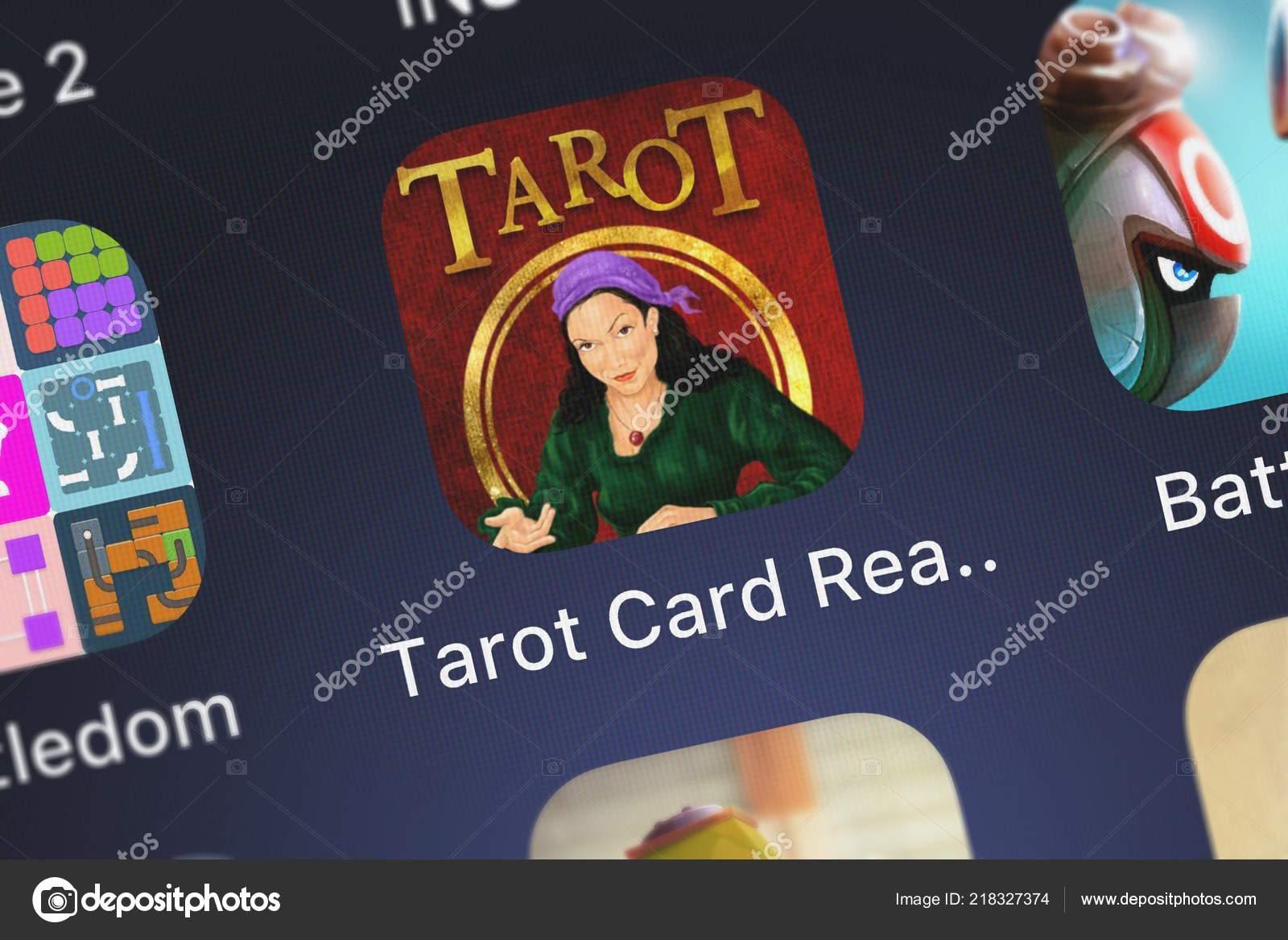 London United Kingdom October 2018 Close Shot Tarot Card Reading