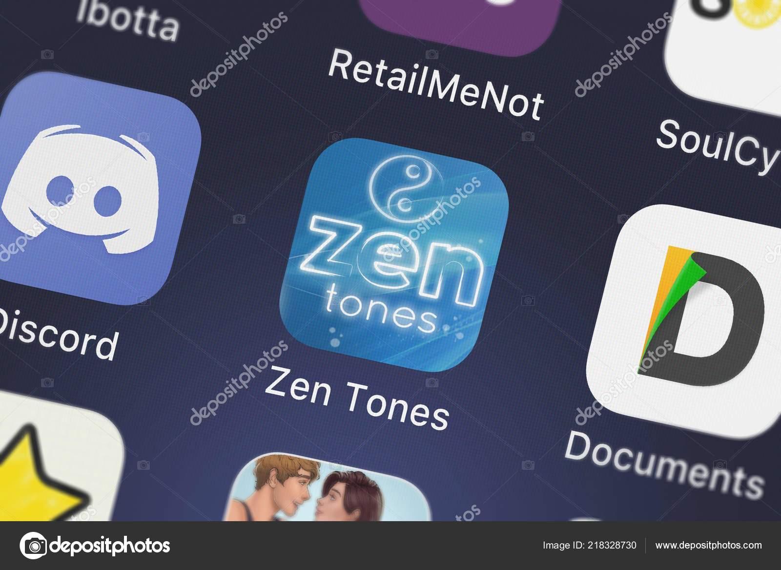 London United Kingdom October 2018 Screenshot Mobile App Zen Tones