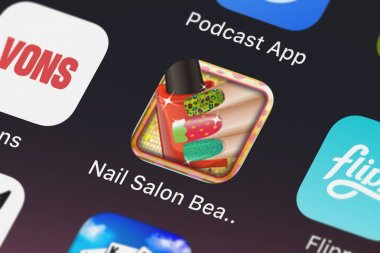 London, United Kingdom - October 02, 2018: The Nail Salon Beauty for the Princess mobile app from Arcade Studios on an iPhone screen.